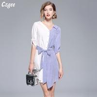 Czgee Summer Irregular Shirt Tops 2018 Fashion Women White Patchwork Blue Striped Tie Bow Ladies Half Sleeve V Neck Blouse