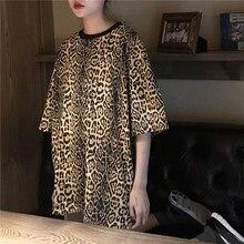 Leopard Print Loose T shirt Women Sexy Casual Streetwear Half Sleeve Long O Neck Female Summer 2018 t shirt Tops