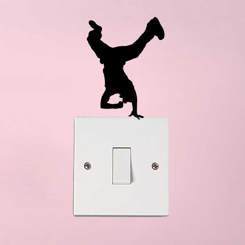 Break danceฮิปฮอปคลั่งเพลงเต้นรำแฟชั่นสวิทช์ผนังสติ๊กเกอร์D Ecals 5WS1419