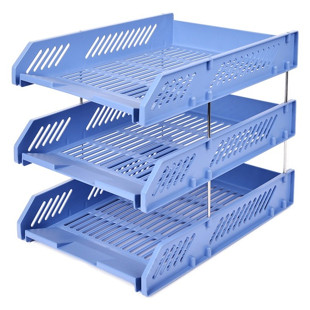 Three Tier Storage Rack File Tray Office Stationery Firm With A Simple Table Data Multi