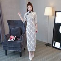 New Arrival Chinese Women's Traditional Long Dress Wool Long Slim Cheongsam Summer Sexy Qipao Flower Size S M L XL XXL 3XL B011