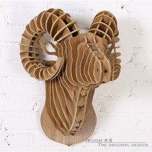 Pared Sheepshead, accesorios para el hogar creativo, DIY 3D de madera artesanía escultura, restaurante decoración, Artesanías de pared cabeza de animal, adornos