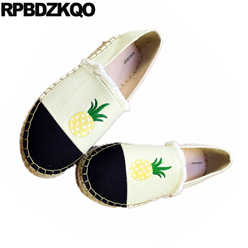 Summer Flats Women Designer Hemp Fisherman Embroidery Canvas Espadrilles Straw Embroidered Black And White Shoes Brand Pineapple vintage embroidery women flats chinese floral canvas embroidered shoes national old beijing cloth single dance soft flats