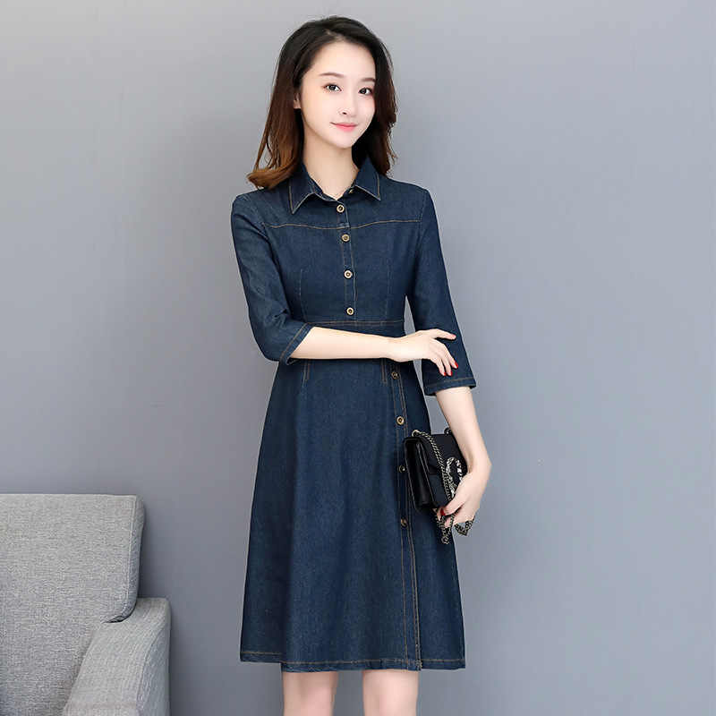 Джинсовое платье Корейская версия 2019 однобортное платье с рукавами тонкий длинный участок ZMLM1905A