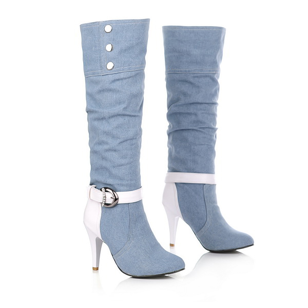 5da400e2e3c5f Primavera nuevo botón Jean Material dama botas mujer zapatos botas gruesas  botas de tacón alto de mitad de la pantorrilla botas zapatos hebilla venta  al por ...