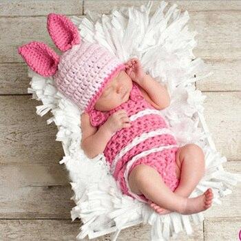0-3 meses monos trajes cien días recién nacido bebé fotografía utilería hecho a mano ganchillo tejido lana ropa para niños