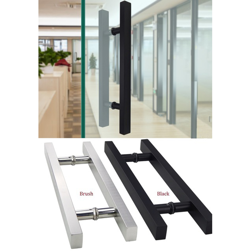 CC30 L50CM Stainless Steel Square Glass Door Pull Handle Commercial Entry Matt Black Brush in Door Handles from Home Improvement