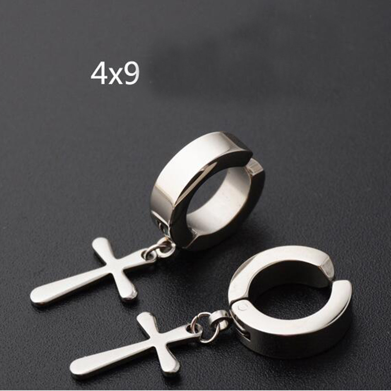 1 Piece Punk Stainless Steel Cross Fake Stud Earring Ear Clip Cuff Huggie Piercing Jewelry For Men Women