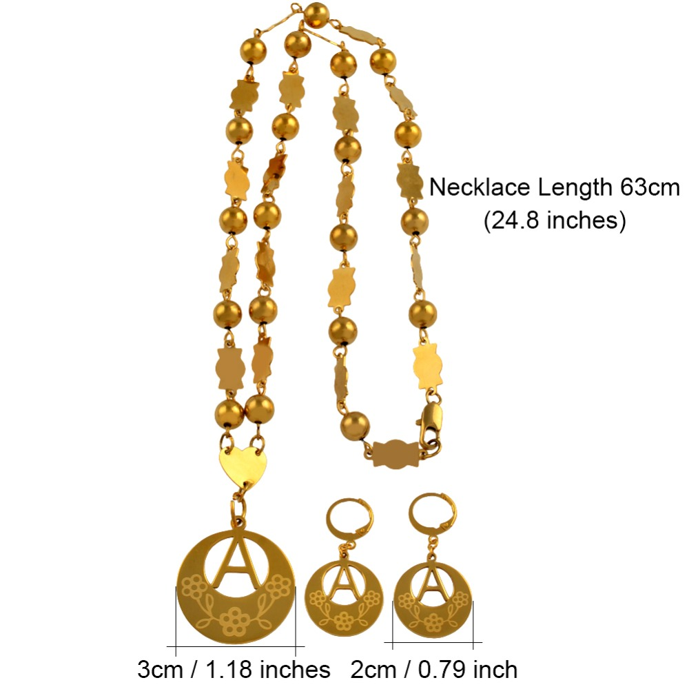 Image 3 - Anniyo A Z 26 Letters Necklaces Gold Color Marshall Initial Alphabet Beads Chain Jewelry Micronesia Gifts #040121SSPendant Necklaces   -