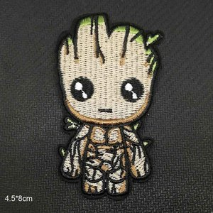Cartoon Treeman Groot Guardians of the galaxy Panda Fox Iron On Embroidered Clothes Patches For Clothing Garment Wholesale(China)