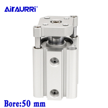 Smc type air cylinder CQMB/CDQMB bore 50mm  double acting compact rod guide pneumatic ram cylinder stroke 5/10/15/20/25/30mm цена