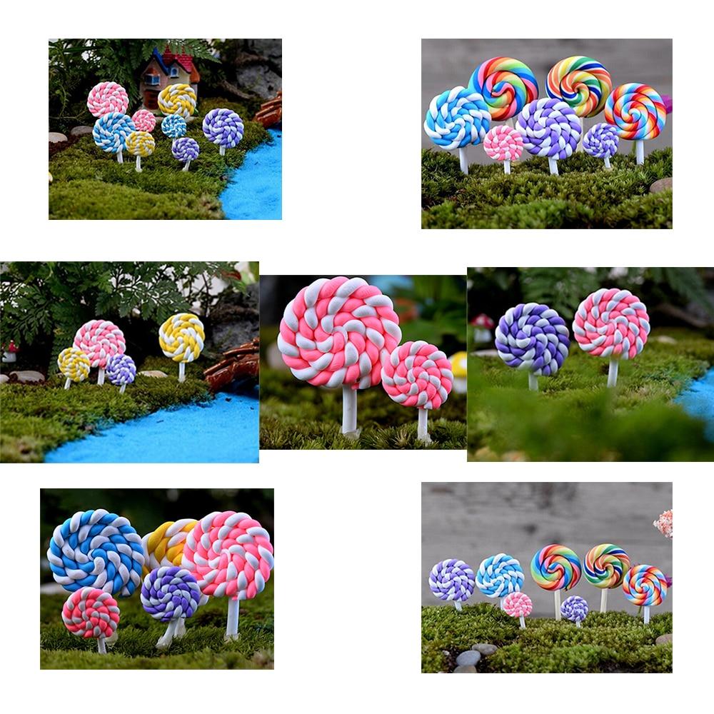 10pcs Kids Mini Resin Lollipop Bonsai DIY Fairy Garden Micro Dollhouse Decor