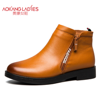 AOKANG 2017 Autumn Winter Women Boots Soft Genuine Leather Fashion Boots For Lady Female Shoes Free