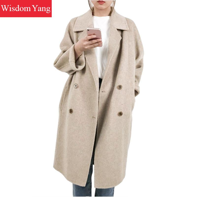 Elegant Women Camel Sheep Wool Coats Trench Female Winter Warm Oversize Long Woolen Overcoat Loose Casual Coat Ladies Outerwear