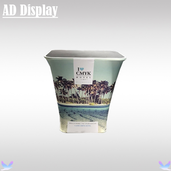 Trade Show Booth Tension Fabric Square Bar Counter Display With Full Color Banner Printing,Durable Podium Promotion Table