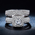 luxury 2 pieces combination Wedding Ring for Women White Gold Plated CZ ring vintage bague engagement bijoux Accessories