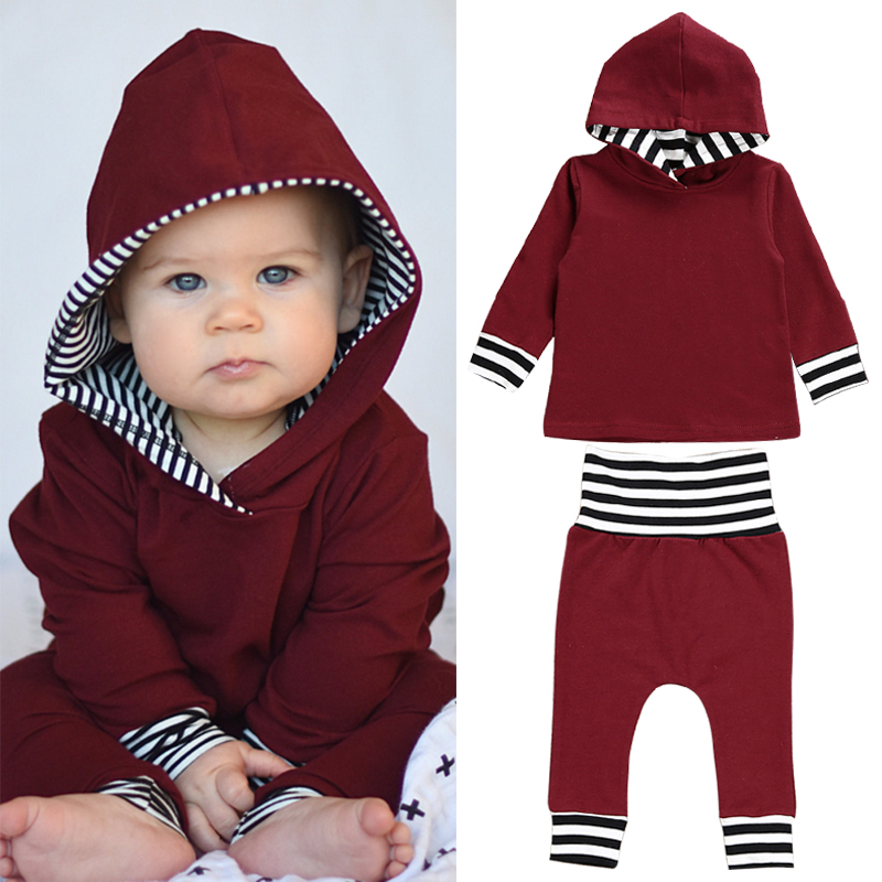 где купить 2018 Winter Infant Baby Girls Boys Clothes Set Long Sleeve Hooded Sweatshirt Tops+Pants Outfits Set Brand New Toddler Clothing по лучшей цене