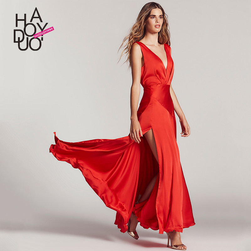 western style fashion sexy party solid color sleeveless deep V neck backless SML XL XXL woman's Casual long slits dress