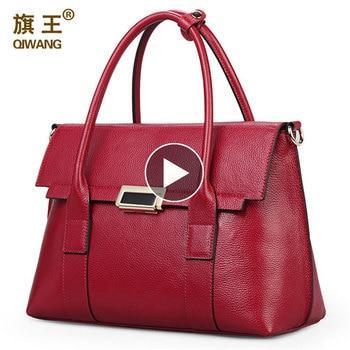 QIWANG márka kézitáska retro táska valódi bőr luxus márka tote táska zsák bezárása divat fém zár kézitáska nagy pénztárca portfólió táska