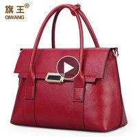 Brand Handbag Retro Bag Real Leather Luxury Brand Tote Bag Flap Closure Fashion Metal Lock Handbag Large Purse Portfolio