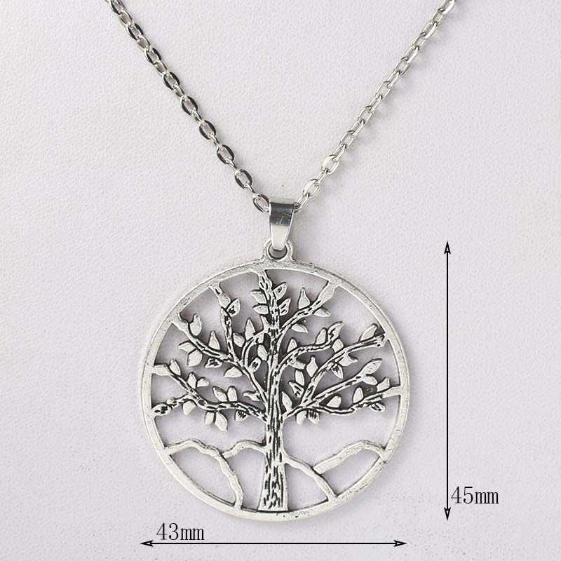 คุณภาพสูง 43x45mm Alloy Tree of Life จี้สร้อยคอเครื่องประดับโบราณเงิน Living Tree เครื่องประดับชายและสตรีของขวัญ