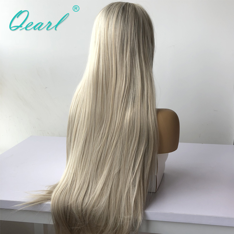 Long Human Hair Full lace Wig Ombre Blonde Color with Brown Roots Straight Preplucked Free Part