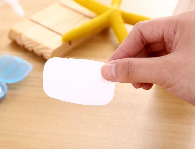 Favor de la boda 20 unids/bolsa de viaje jabón de mano esencial jabones de papel caja de espuma portátil rebanada de papel conveniente Camping senderismo