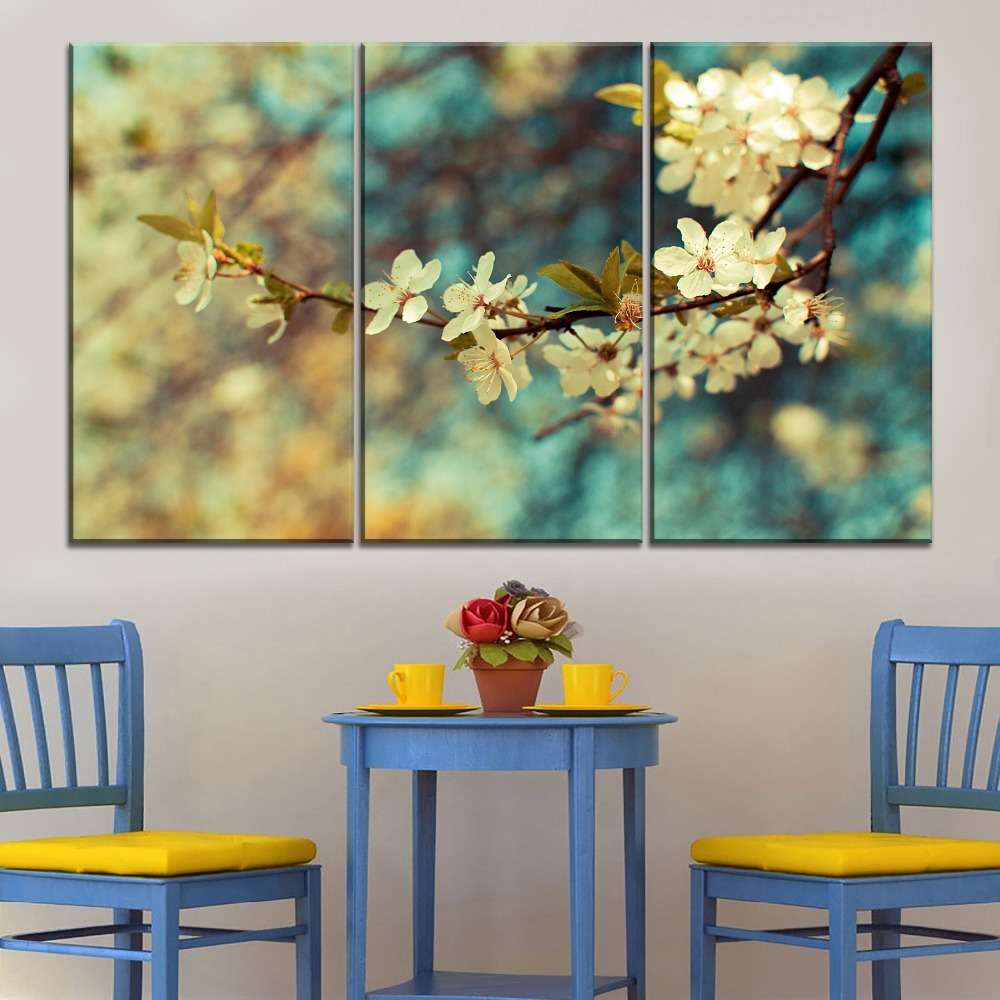 4 Piece Retro Painting White Plum Blossom Home Decor Living Room Or Kitchen Artwork Picture Modern Canvas Print Type Poster in Painting Calligraphy from Home Garden
