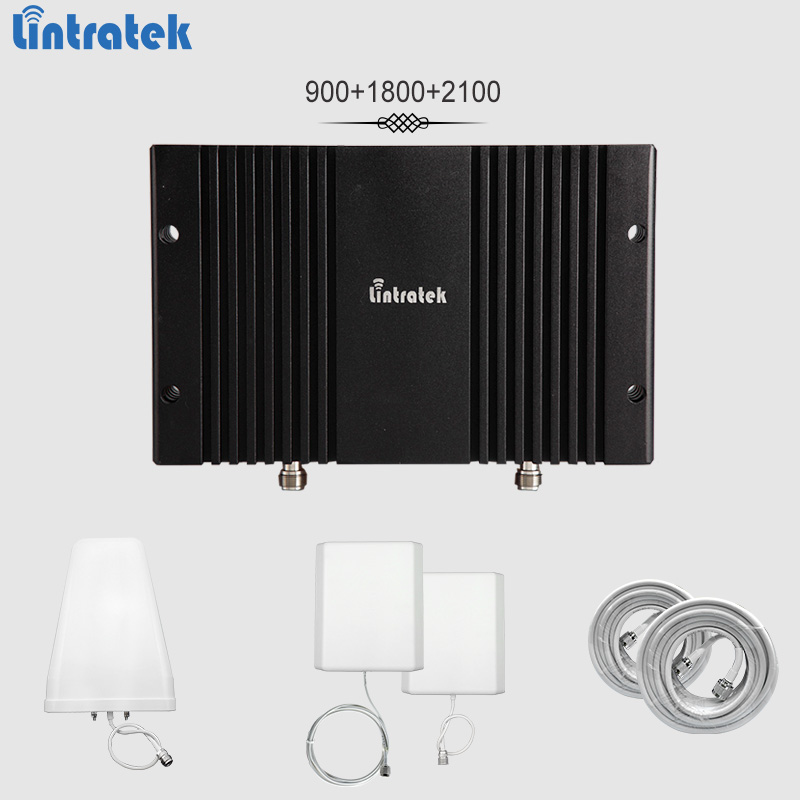 Lintratek signal booster 2G 3G 4G 900 1800 2100 MHz Band3 Band1 repetidor GSM 3G 4G LTE 65dBi AGC y MGC mobile amplificador completo kit #65