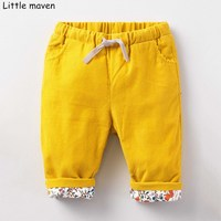 Little maven Autumn baby boy clothes cotton drawstring pants children's solid kids trousers school pants 10132