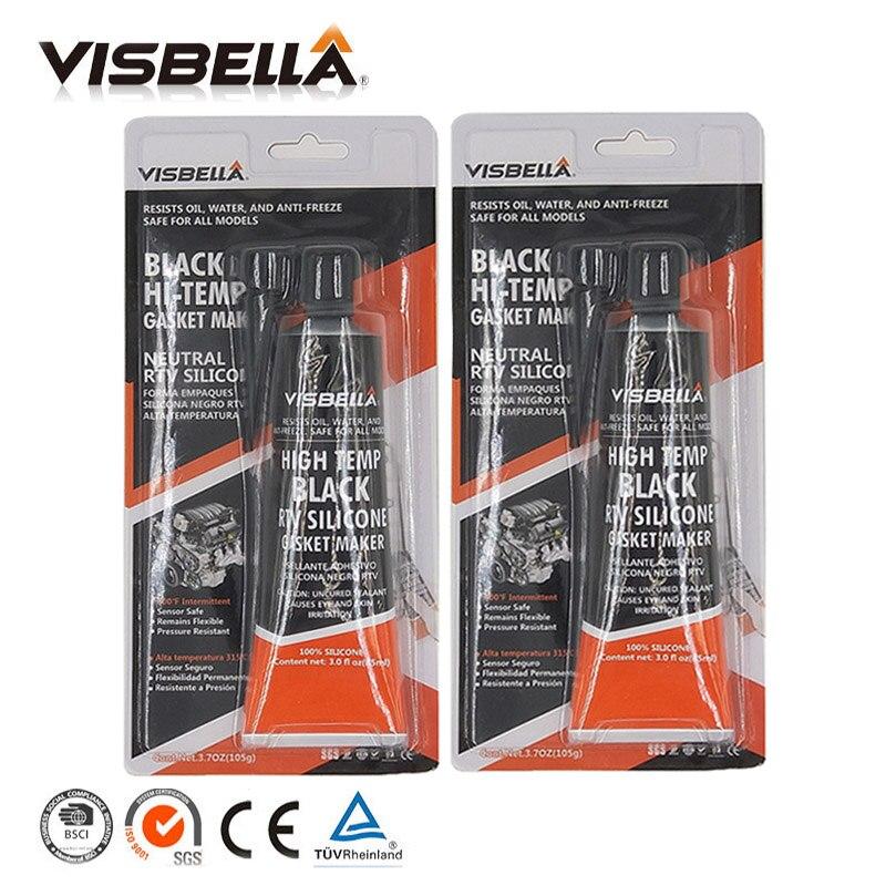 VISBELLA 2 шт. Нейтральный RTV прокладочный герметик 85 г высокотемпературный силикон резиновый влагостойкий клей наполнители клей-герметик - Цвет: black