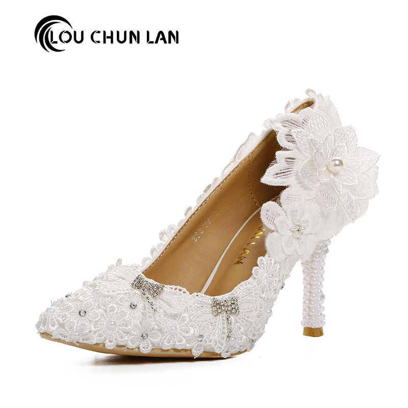 LOU CHUN LAN Official Store Dress shoes women's Pumps shoes Wedding Shoes White lace flower rhinestone bridal shoes ultra high heels formal