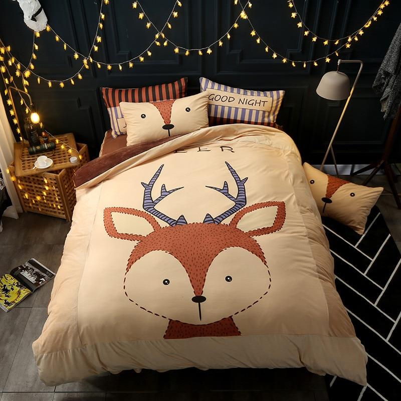 2017 New Cartoon Deer Bedding Sets 4pcs Queen Twin Size