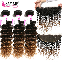 3 Bundles Indian Deep Wave Bundles With Frontal Blonde Ombre Human Hair Bundles With Frontal Pre Plucked Lace Frontal Remy Hair