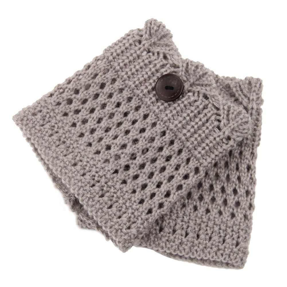 Las mujeres de invierno calentadores de la pierna de nylon de lana hueco ganchillo calcetines de punto de arranque Toppers esposas regalo