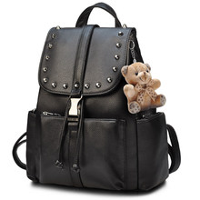 Black Rivet Backpack Women Fashion Drawstring Back Bag Push Lock Small Daypack Bag PU Leather Ladies Cheap Casual Packsack(China)