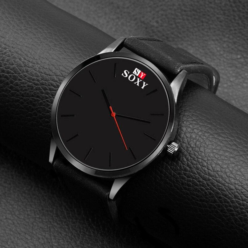 Excellent Quality Watch Relojes Quartz Watches Men Sport Military Watches Men Faux Leather Strap Army Wristwatch Clock Hours