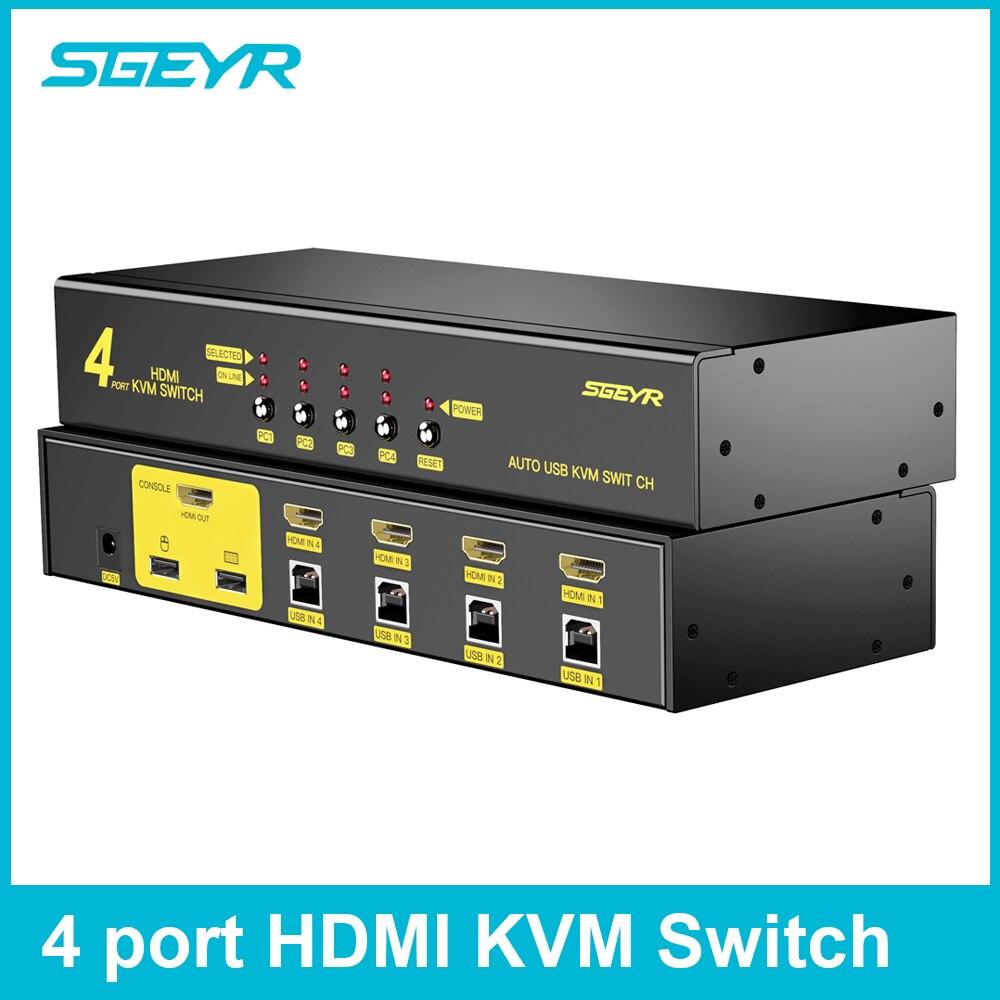 HDMI Switch kvm SGEYR 4x1 HDMI Tastiera e Mouse Interruttore 4 Port KVM USB 2.0 Switch HDMI Supporto 1080 p per Finestre/XP/Vista Linux