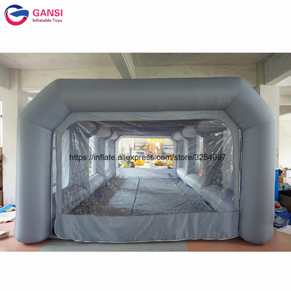 Free air blower grey portable inflatable car spray paint booth tent with filter недорго, оригинальная цена