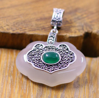 Jimei Silver Jewelry Wholesale Silver S925 Silver Inlaid Fine White Chalcedony Pendant Jewelry Noble Lady Bag