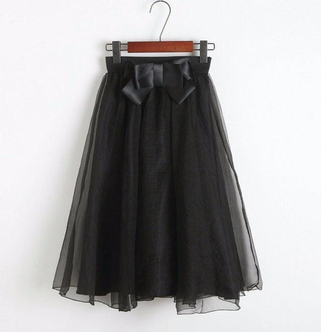 Black Pink Tulle High Waist Bow Midi Skirt