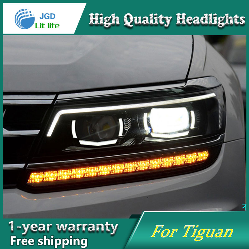 high quality Car styling case for VW Tiguan 2017 Headlights LED Headlight DRL Lens Double Beam HID Xenon Car Accessories hireno headlamp for volkswagen tiguan 2017 headlight headlight assembly led drl angel lens double beam hid xenon 2pcs
