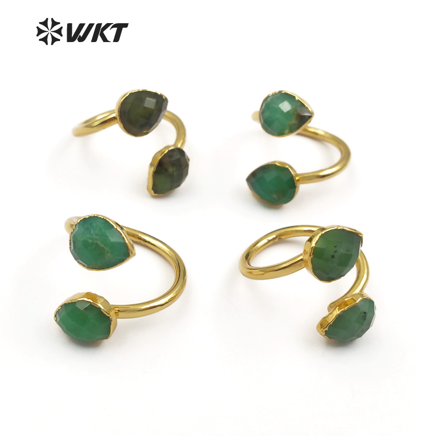 WT-R316 WKT Wholesale Natural Chrysoprase Stone Rings Double Water Drop Faceted Green Stone With Gold Trim Women Elegant Rings