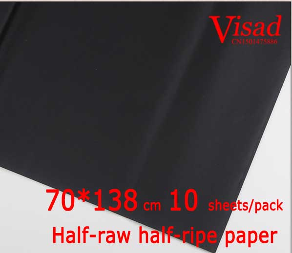 black Chiese xuan paper,VISAD painting paper,70*138cm Half-raw half-ripe paper decoupage drawing rice paper free shipping 100 pieces lot 7 colors hand made chinese rice paper for painting and decoupage 64 135cm xuan paper