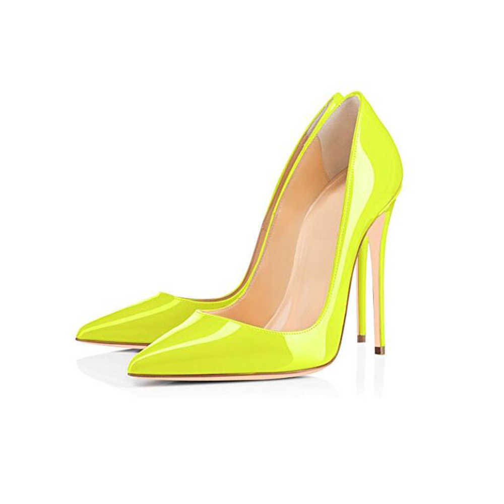 664b40a41428 ... GENSHUO Brand Shoes 10 12CM Heels Women Shoes Pumps Stiletto Neon  Yellow Sexy Party High Heels ...