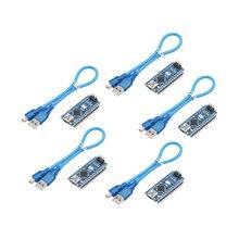 Placa controladora ATmega328P, 5unids/lote, Nano 3,0, CH340, controlador USB con Cable para Arduino