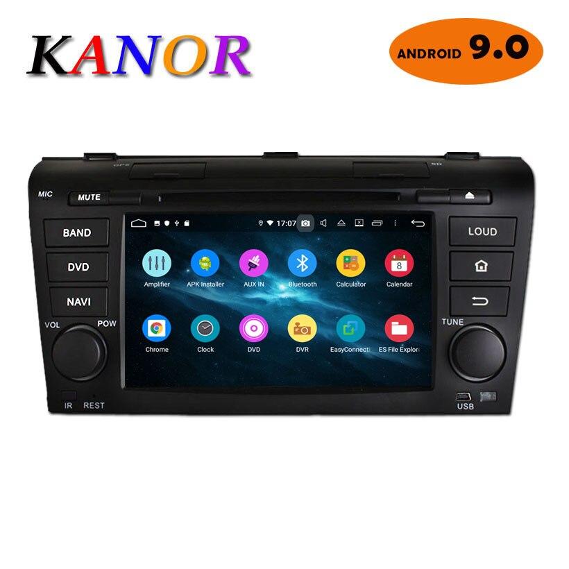 Lecteur DVD autoradio KANOR 2 Din Android 9.0 pour Mazda 3 2004 2005 2006 2007 2008 2009 système multimédia de Navigation GPS intégré