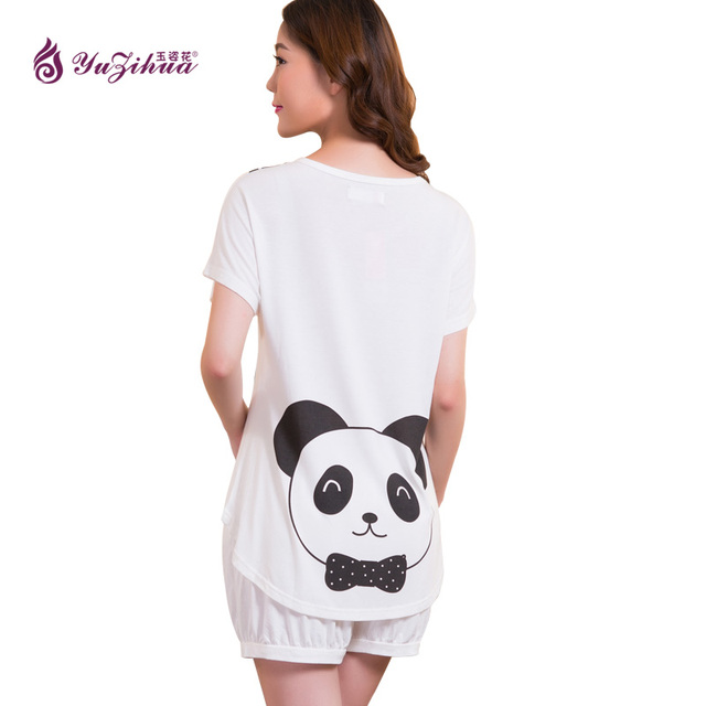 97f53c2d13c1 Yuzihua Pajama Sets Women Cute Dachshund Print 2 Pieces Set Cotton T shirt  Top + Shorts Elastic Waist F388 White Pink Red