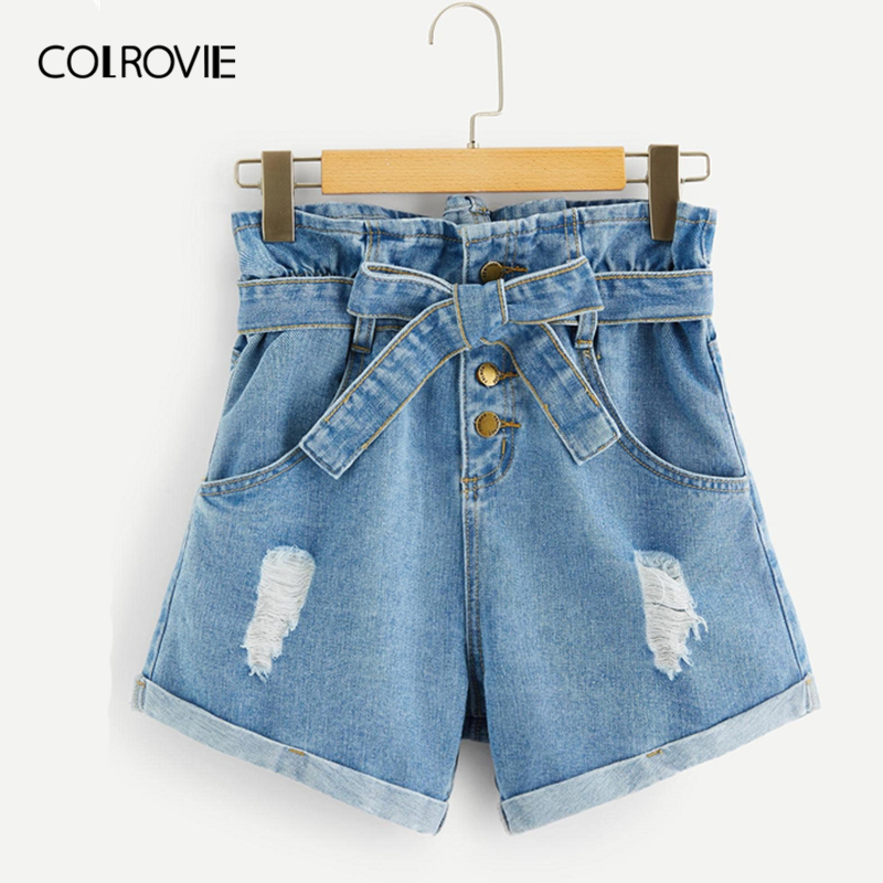 COLROVIE Blue Double Pocket Rolled Hem Casual Denim   Shorts   With Belt Women 2019 Summer Streetwear Button Fly Ladies   Short   Jeans