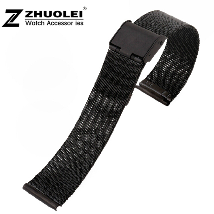 18mm 20mm 22mm 24mm New Black Silver Stainless Steel Watch Mesh Bracelets Straps Replacement Band Safety Buckle Free Shipping ysdx 398 fashion stainless steel self stirring mug black silver 2 x aaa